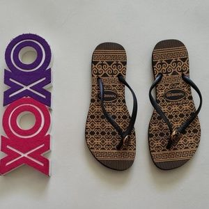 HAVAIANAS black and gold flipflop